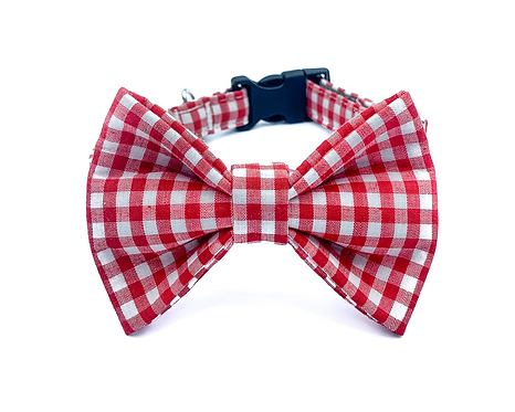 Red Gingham Bow Tie Collar