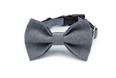 Denim Bow Tie Collar