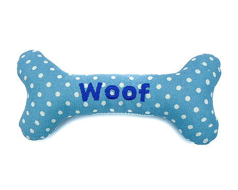 Personalised Dog Squeaky Toy - Baby Blue Polkadot
