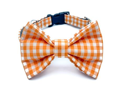 Orange Gingham Bow Tie Collar