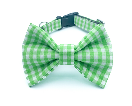 Green Gingham Bow Tie Collar