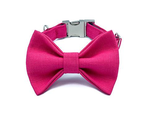 Raspberry Macaron Bow Tie Collar