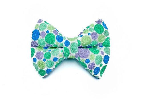 Green Dot Glitter Bow Tie