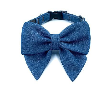 Denim Blair Bow Collar