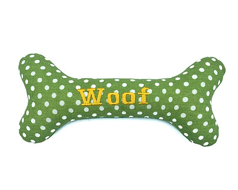 Personalised Dog Squeaky Toy - Mint Polkadot
