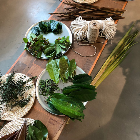 Laying out freshly foraged materials for our Lei Weaving workshop