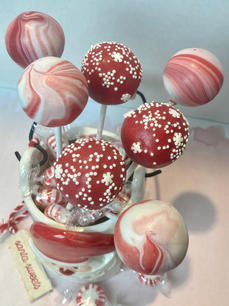 Candy Cane/Red and White Cake Pops