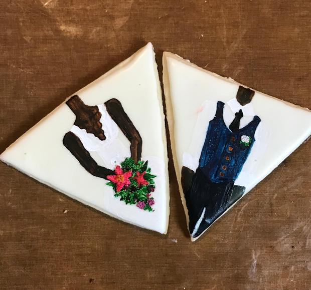 Bride and Groom Painted Cookies