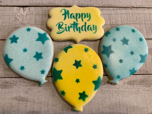 Happy Birthday Plaque and Balloons (yellow and blue)