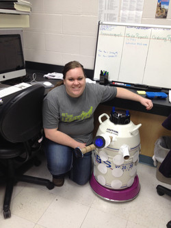 Anna with Liquid Nitrogen Dewar in Dalek Halloween Costume
