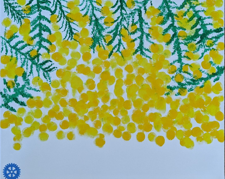Mr7 painted a wattle tree for the #diamondcreekmuralfestival Our community is filled with beautiful yellow wattles and other amazing trees