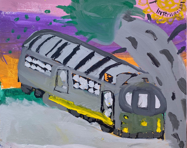 """Mural created by Annie representing... """"the amazing historic tram attraction and the colour and joy it brings to families""""... created using paints and brushes kindly supplied by Veronicas Pantry #DiamondCreekMuralFestival"""