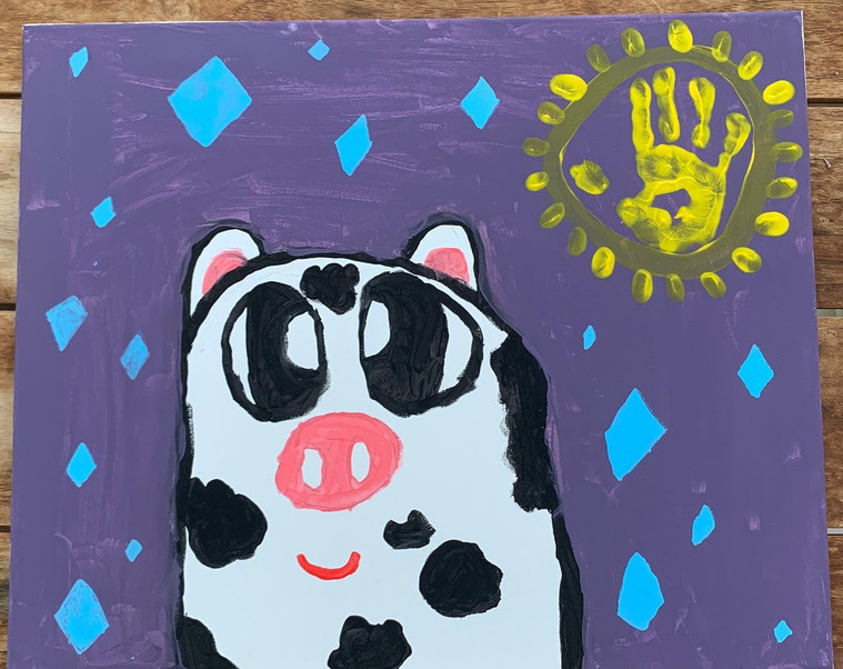 """#DiamondCreekMuralFestival Mural by Emmy age 8 """"My mural represents Diamond the Cow who got stuck in the creek! My school uniform has Diamond the Cow as our emblem. I love everything about living in Diamond Creek, especially walking and riding with my family along the creek!"""" I used paints from Veronica's Pantry and posca for the blue diamonds."""