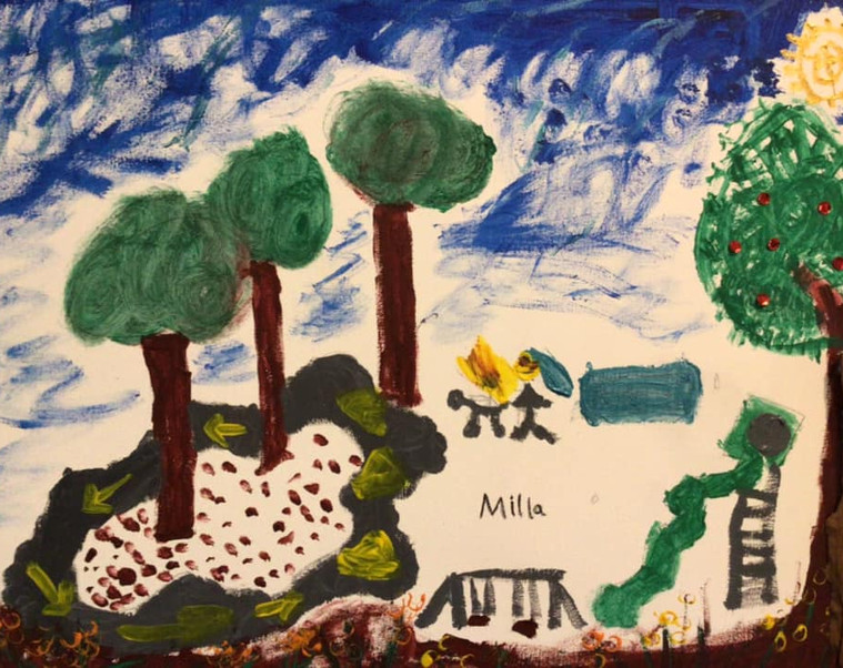 #DiamondCreekMuralFestival Milla's (age 7) ideal community space, is a place of fun and play where she can get together with her family and friends. Enjoy the play equipment, ride her bike, walk her dog and have a picnic.