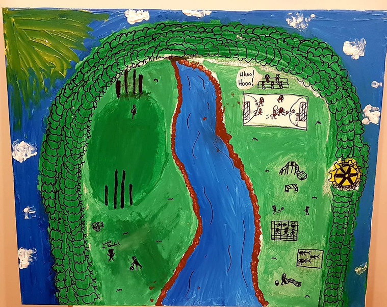 #DiamondCreekMuralFestival 2020. Taiya loves her outdoor community and being able to play! She says, 'l love all the green bush and riding my scooter along the creek and bike track, so l painted the creek and lots of people playing soccer, footy and having a picnic.'
