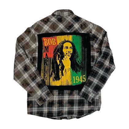 Bob Marley Rhasta Cut & Sew Bleach Dye Flannel - M