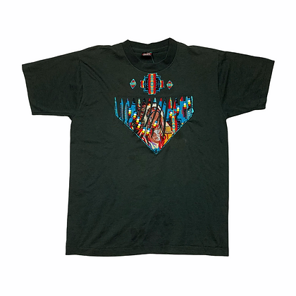 Vintage Native American Beaded Graphic Shirt