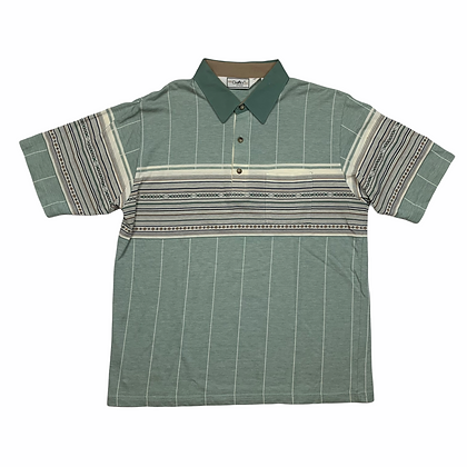 Vintage Classic by Palmdale Green Striped Polo Shirt