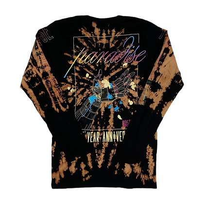 Paradise Neon Print L/S Bleach Dye Shirt - S