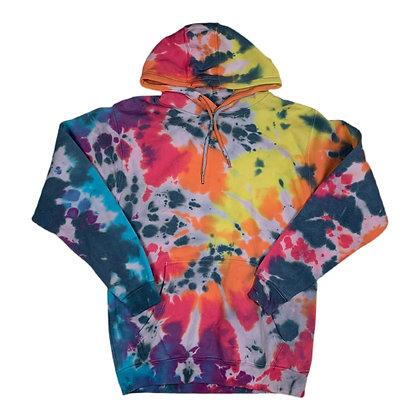 Blank Rainbow Splatter Tie Dye Hoodie - M