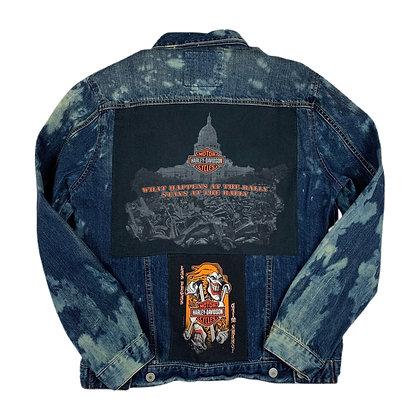 Harley Davidson Las Vegas Cut & Sew Bleach Dye Jacket - L