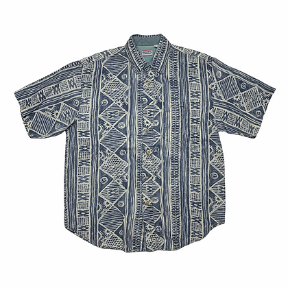 Vintage Bugle Boy Blue Floral Hawaiian Shirt