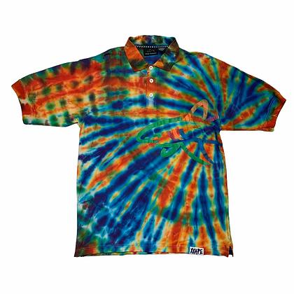 Vintage Greg Norman Wrap Around Print Tie Dye Polo
