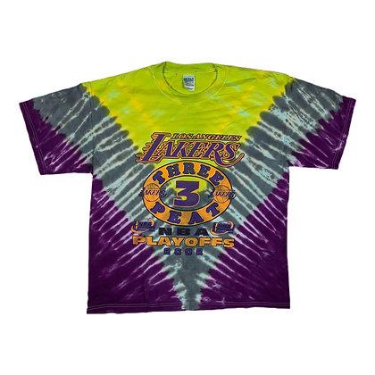 2002  Los Angeles Lakers Three Peat Playoffs Tie Dye Shirt - XL