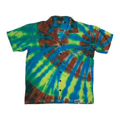 Vintage Panama Embroidered Tie Dye Button Shirt - M