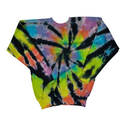 Vintage 80's Blank Rainbow L/S Tie Dye Crewneck - M