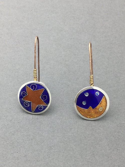 Round Cloisonne Moon/Stars earrings