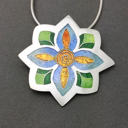 Champleve/Cloisonne Flower Pendant