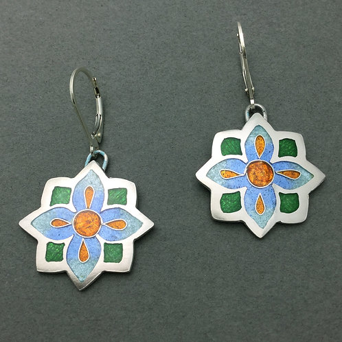Champleve/Cloisonne Flower earrings