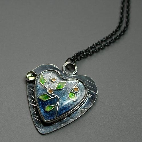Enameled heart pendant with Citrine