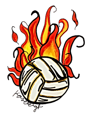 Flaming volleyball by Kaseleigh McCarley