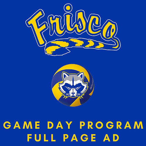 Game Day Program Ad | Full Page