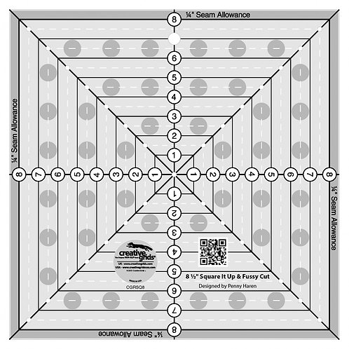 Creative Grids 8-1/2in Square It Up or Fussy Cut Square Quilt Ruler