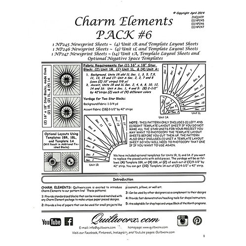 Charm Elements 6 Rectangle Stars by Judy and Brad Neimey