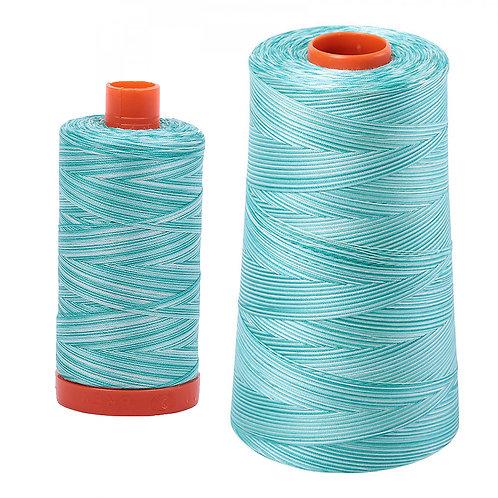 Aurifil Cotton Thread 50wt Variegated Turquoise Foam 4654
