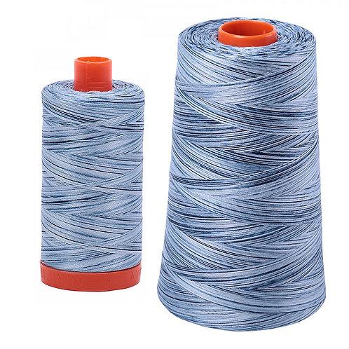 Aurifil Cotton Thread 50wt Variegated Stonewash Blues 4669