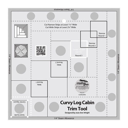 CGRJAW5-Creative Grids 8in Curvy Log Cabin Trim Tool Template