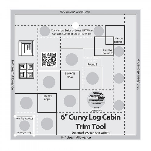 CGRJAW6-Creative Grids 6in Curvy Log Cabin Trim Tool Template