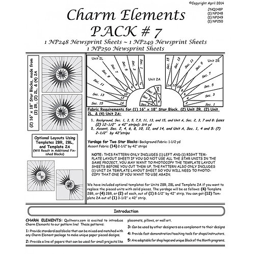 Charm Elements 7 Rectangle Stars by Judy and Brad Neimey