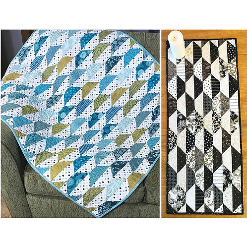 Hexie Imposter Quilt and Tablerunner by Sue Nelson