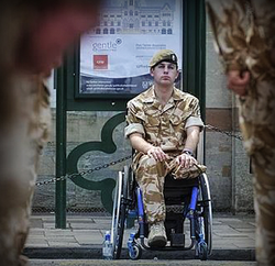 military personnel in wheelchair