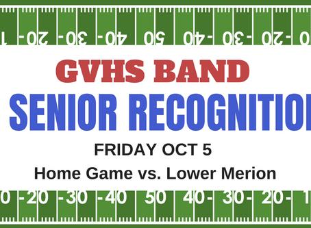 GVHS Band Senior Recognition Night Fri, Oct 5