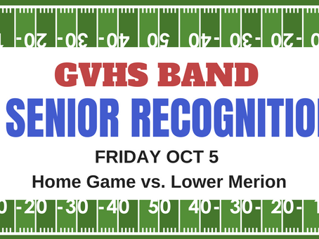 GVHS Band Senior Recognition Night Fri, Oct 5