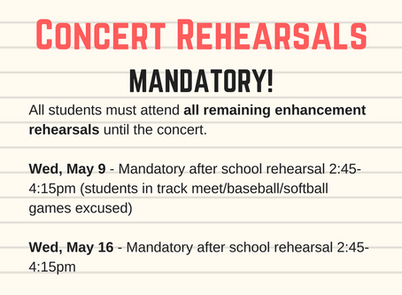 Band Spring Concert Important Info!