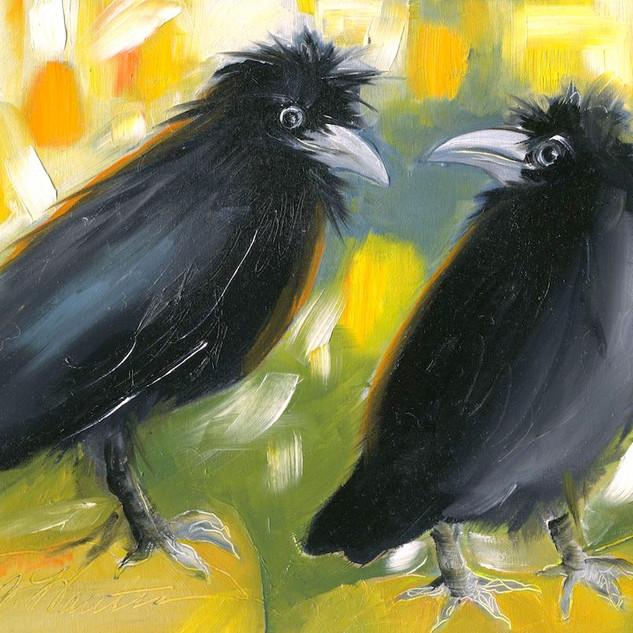 Raven Conversation   SOLD