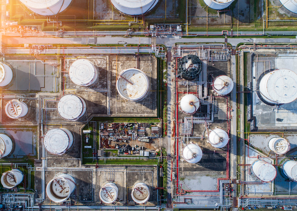 High resolution aerial orthoimage of oil and gas plant